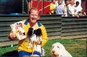 Eddie the Eagle, Sparky and Zeke at a Charity PAT dog Football Match